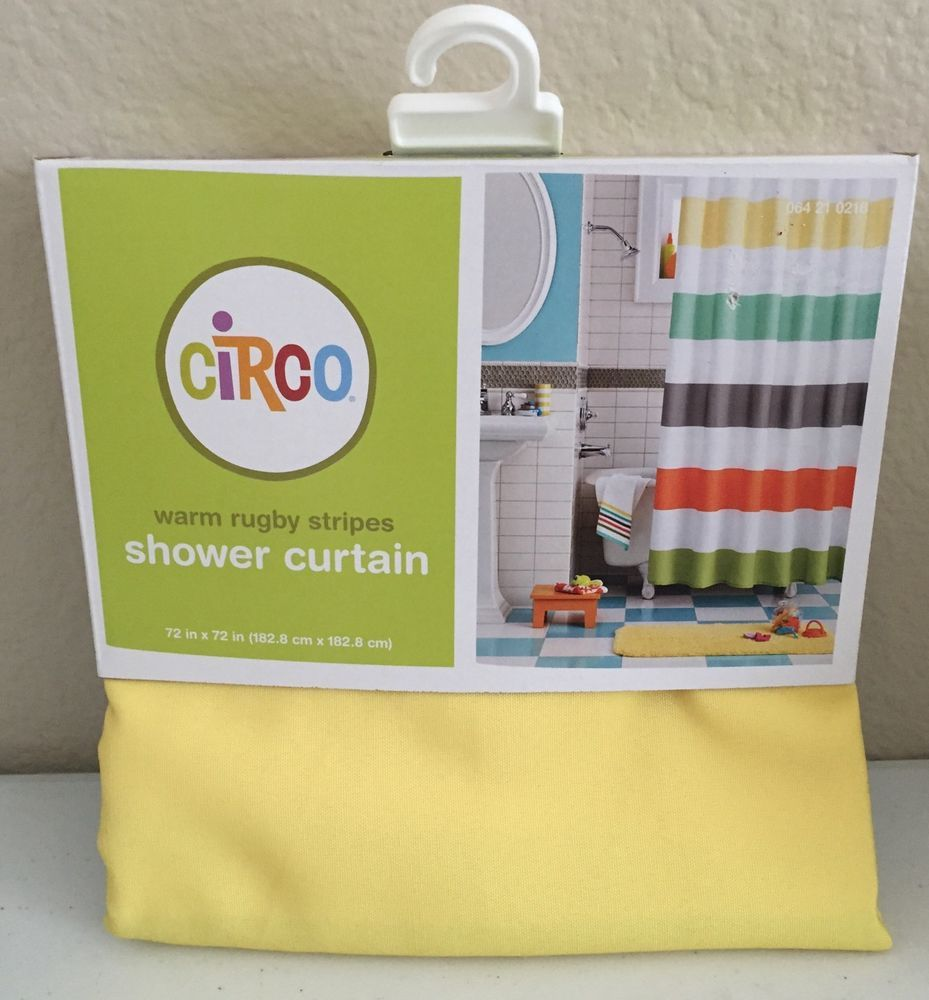 Circo Warm Rugby Stripes Shower Curtain Orange Yellow Green Target #Circo