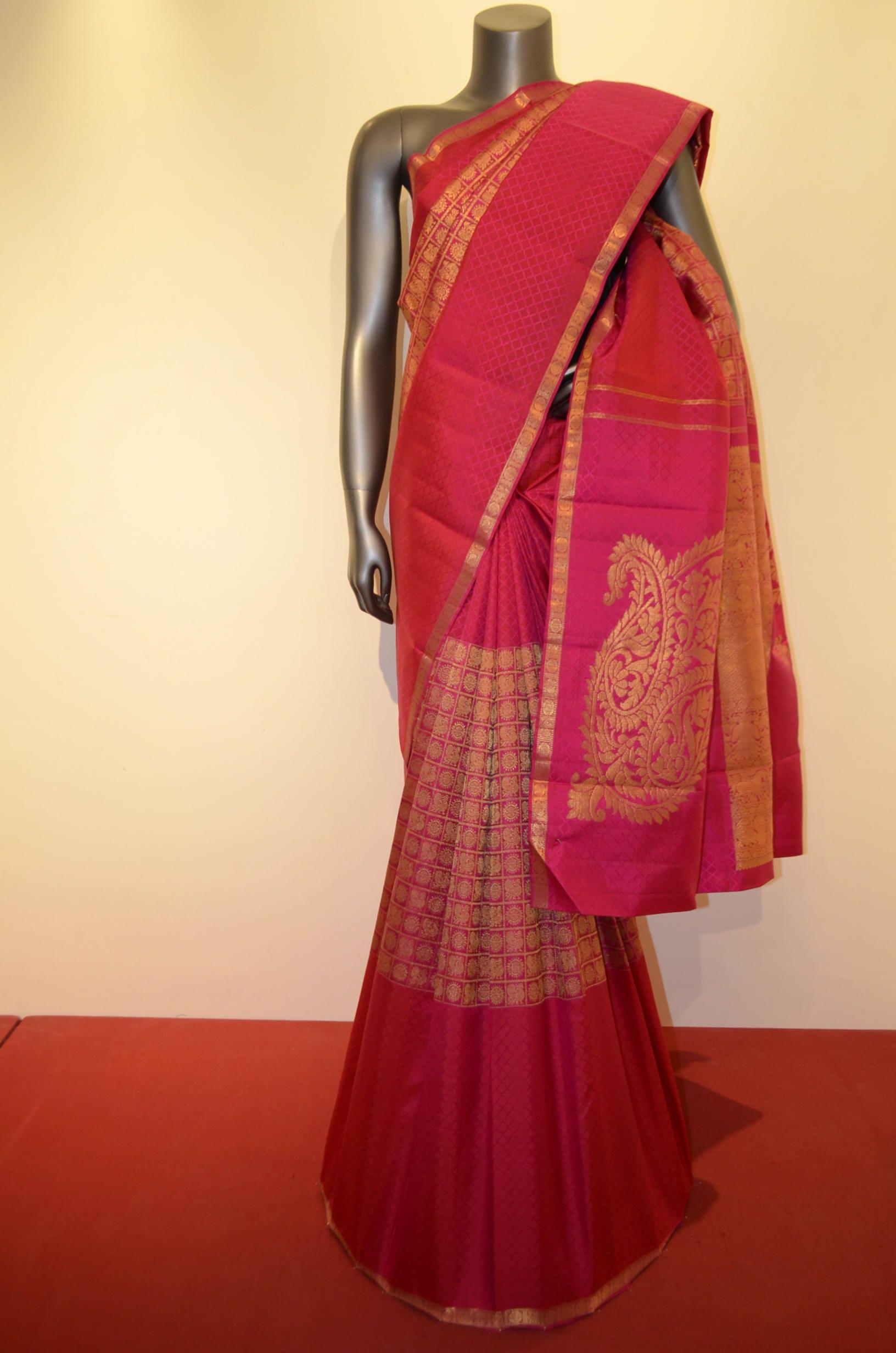Maroon silk saree kanjeevaram silk saree  buy bridal kanjeevaram silk saree with