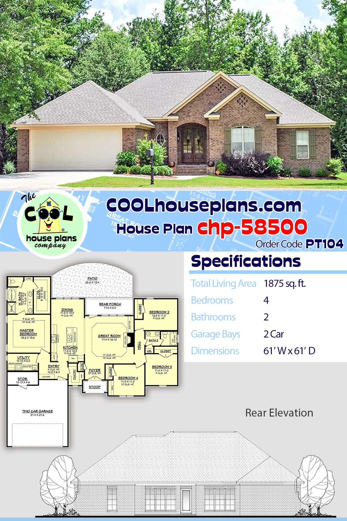 Traditional Style House Plan 51904 With 4 Bed 2 Bath 2 Car Garage House Plans Traditional Brick Home Best House Plans