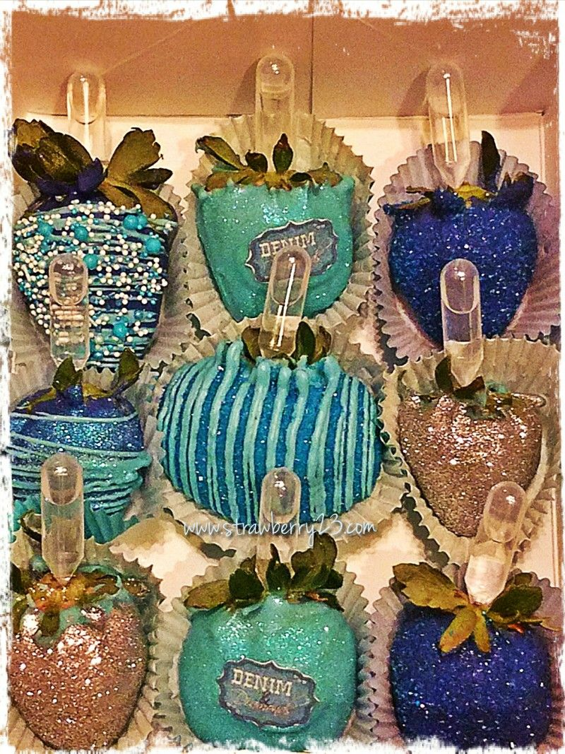 Denim and diamonds themed chocolate covered strawberries infused ...