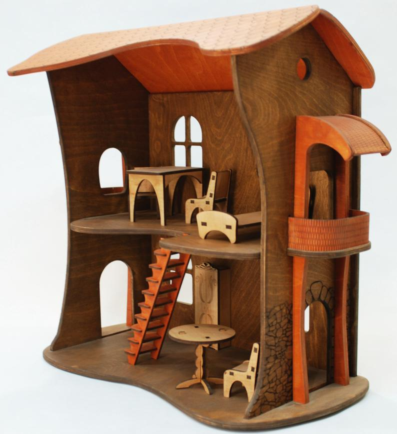 Wooden Dollhouse Wood Doll House Modern Toy Dollhouse Kit Miniature House Victorian Dollhouse Miniatures Two-story Dollhouse with Furniture #victoriandollhouse