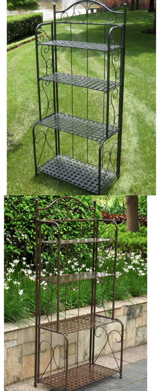 Plant Stands 29514: Outdoor Patio Bakers Rack Heavy Duty Garden And Tool  Storage Rustic Brown