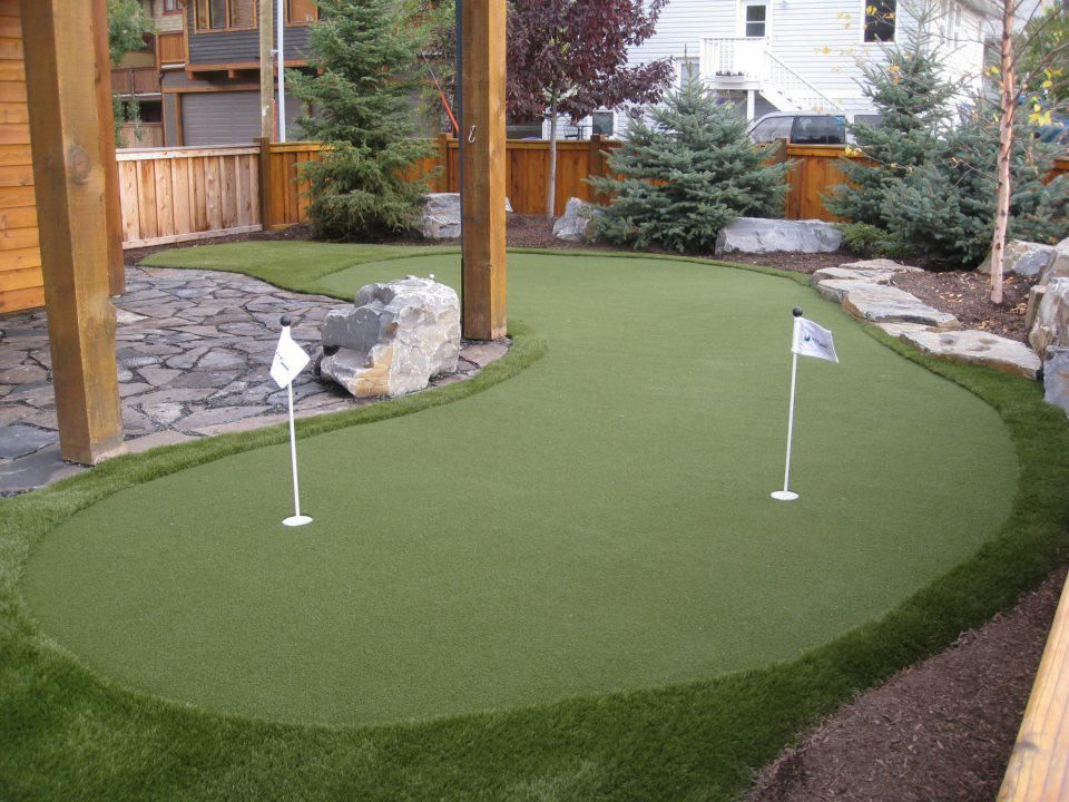 Backyard Golf Course Design find this pin and more on my backyard mini golf course Backyard Putting Greens For Home Entertainment Call 866 Synlawn