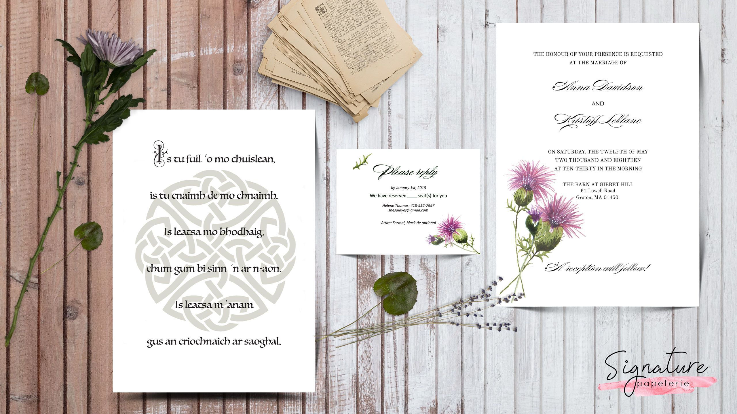 Scottish Themed wedding invitation with watercolor thistles hand ...
