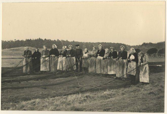 Harstenhoekweg, een groep nettenboetsters poseert voor de fotograaf. 1955 Fotoburo Thuring #ZuidHolland #Scheveningen