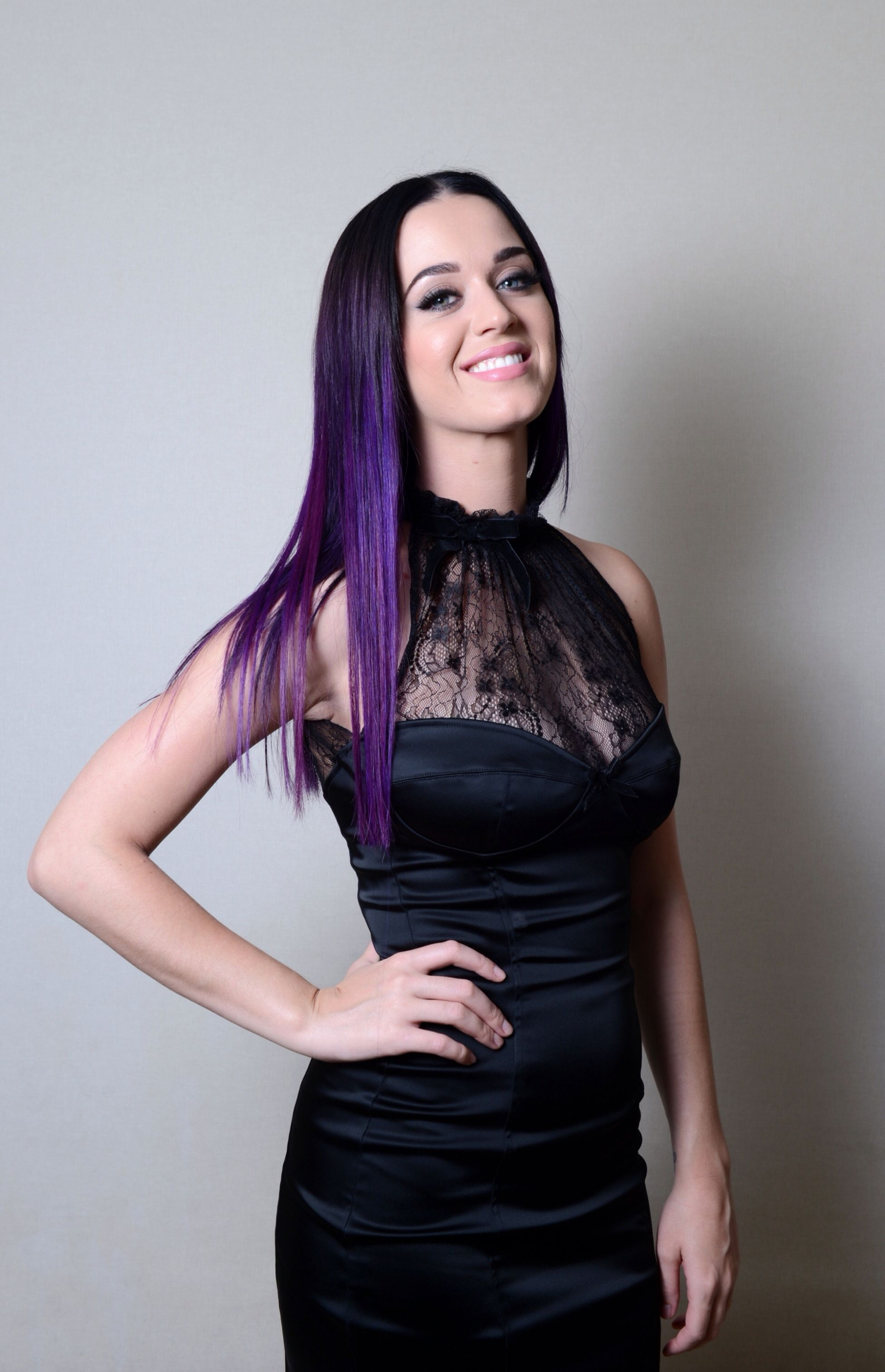 Black dress hairstyle - Love The Black Dress And Purple Hair Combo