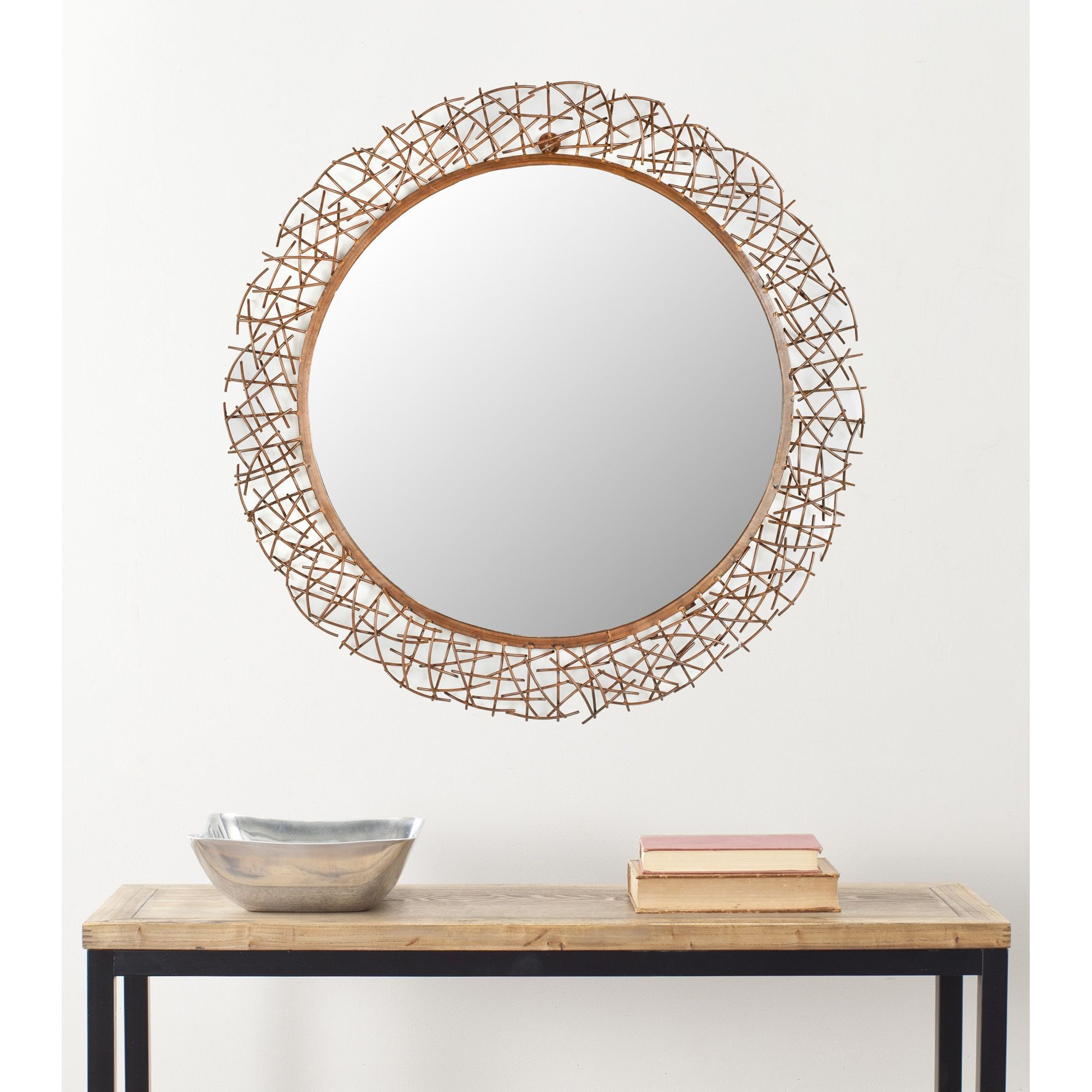 Safavieh Handmade Art Twigs Copper 29 Inch Round Decorative Mirror 29 X 29 X 15 Twig Mirror Mirror Wall Mirror Wall Decor
