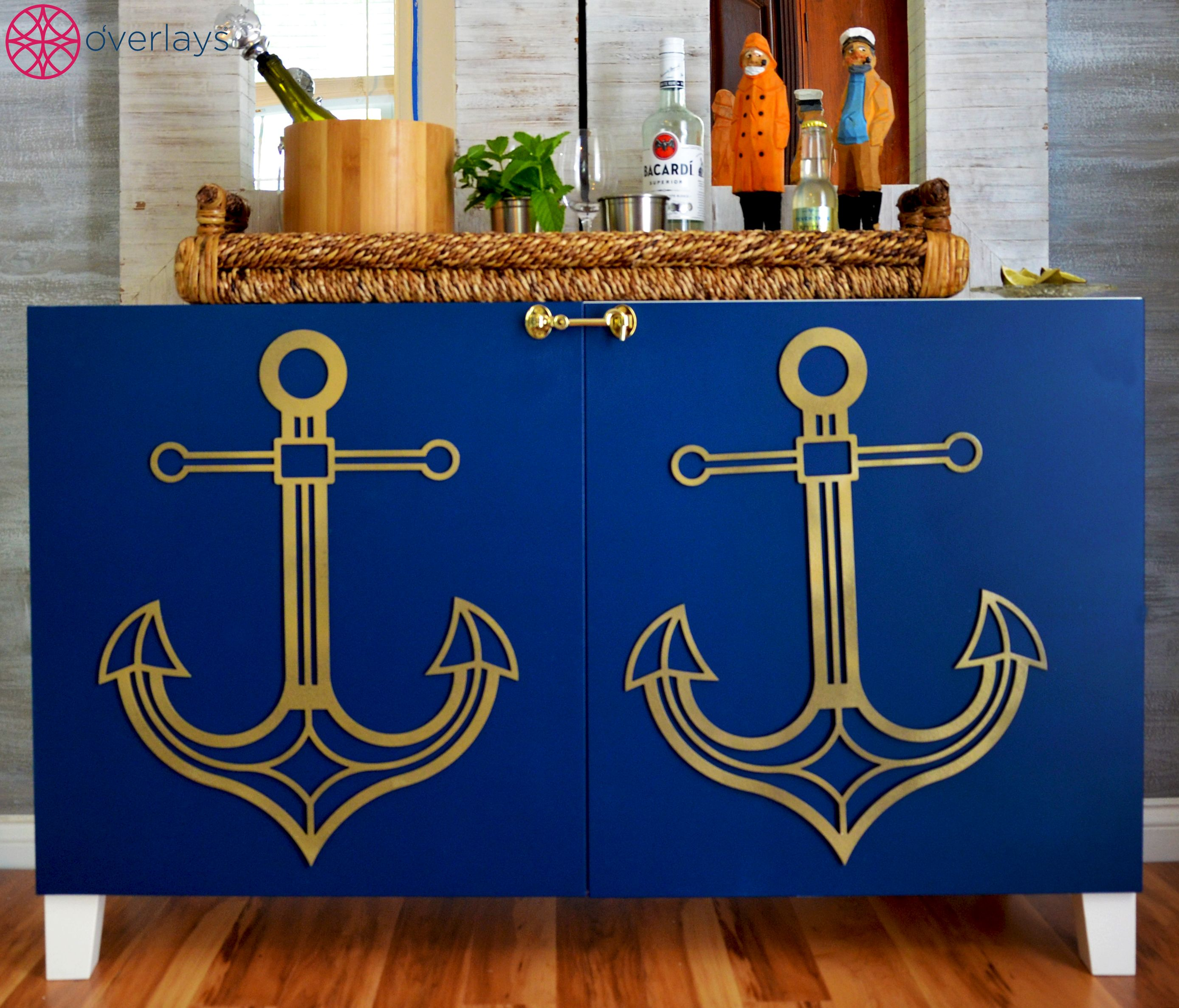 Just a few Anchor O'verlays to hold down this nautical DIY bar area made from the Ikea Besta. Perfect for a mid summer beach party!