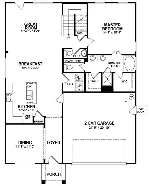 Cullen Ii Home Plan In Sunset Pointe Dallas 1015 Beazer Homes Small Floor Plans House Plans Master Room