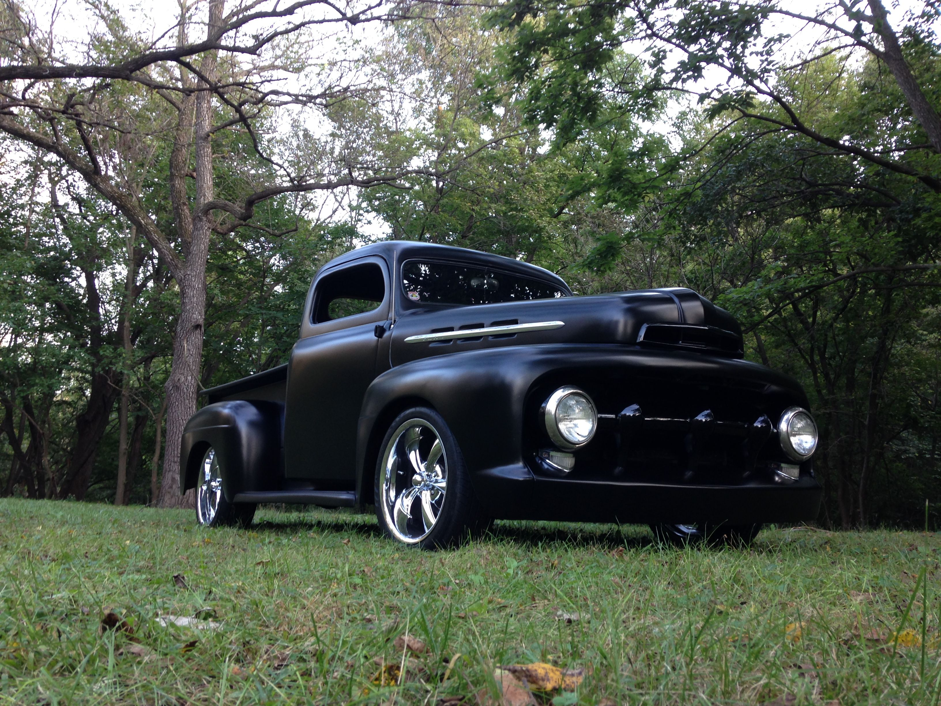 """1952 ford f1 f100 custom 6"""" chop top chopped 18"""" ridler 695 front"""