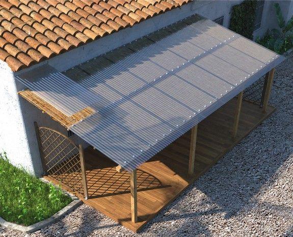 Plaque ondulée en polyester 2x0,90 m - Brico Dépôt | Abri terrasse, Abri exterieur, Pergola
