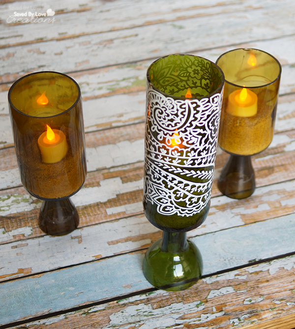 Recycled Wine Bottle Candle Holder Tutorial @savedbyloves