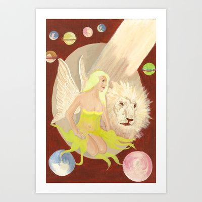 The Fae, The Lion and The Endless space Art Print by Jinzha Bloodrose - $15.60