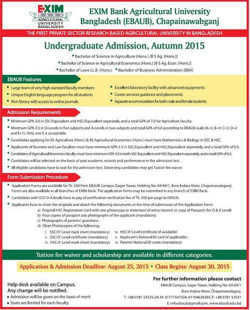 Undergraduate Admission Autumn Exim Bank Agricultural University