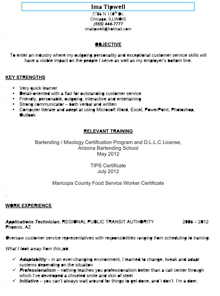 Bartending Resume Sample | Pinterest | Resume objective and Bartenders