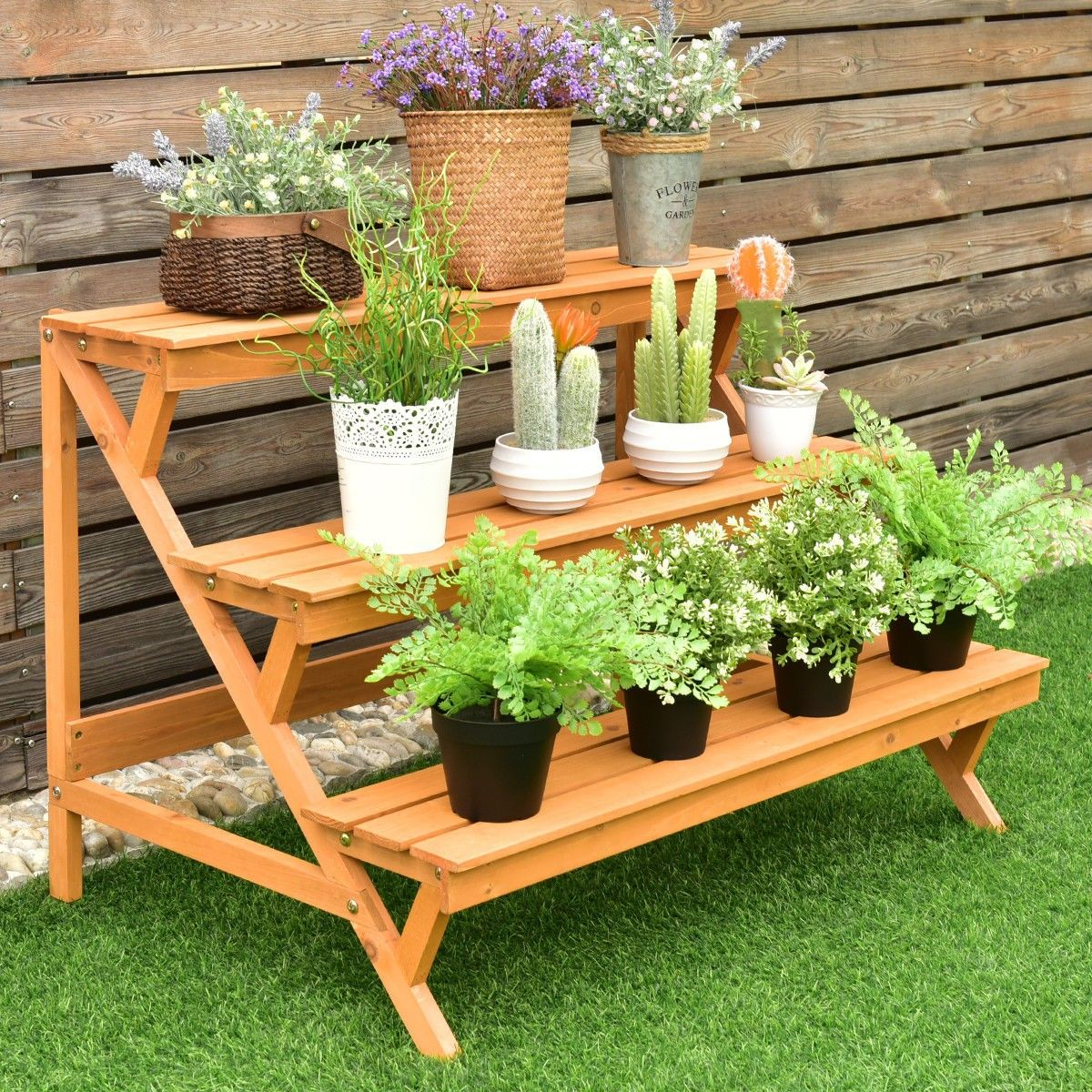 3 Tiers Wooden Step Ladder Plant Pot Rack Stand Pallet Garden
