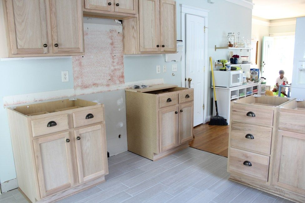 Kitchen Renovation Unfinished Oak Cabinets Kitchen Remodel
