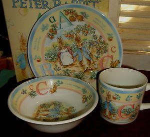 Peter Rabbit children\u0027s bowl plate and mug & Peter Rabbit children\u0027s bowl plate and mug | Vintage Baby I ...