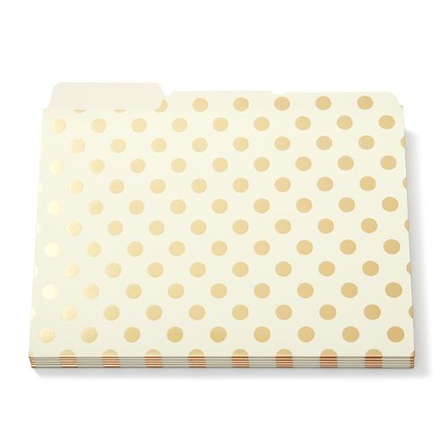 Kate Spade Gold Foil Dots File Folders Set Of 6 Office Products