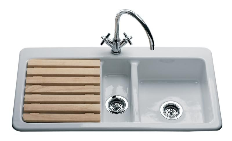 Lansdowne Oakwood 1.5 Bowl Sink Left Hand Drainer With One Tap Hole. This  White Ceramic