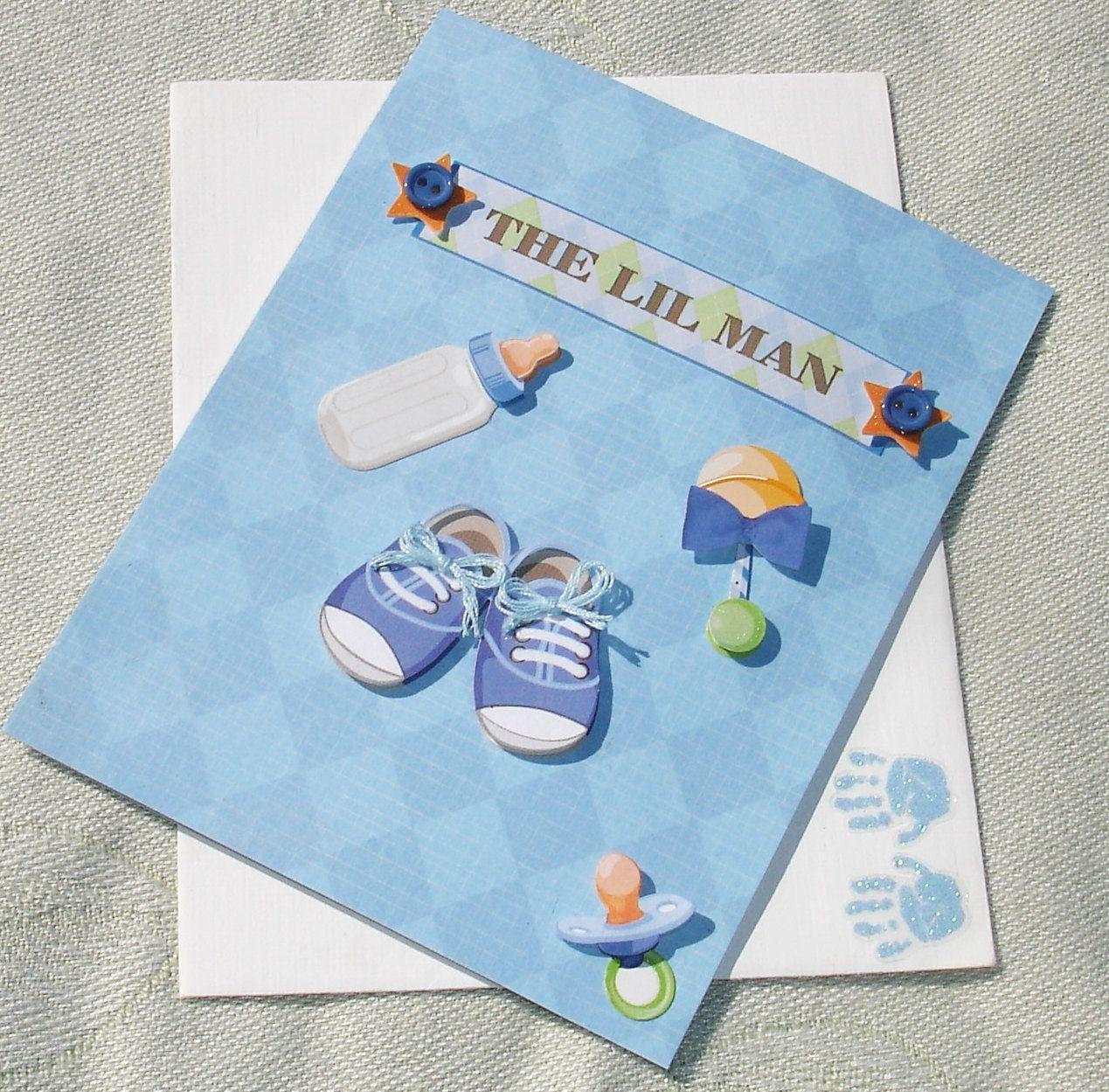 Handmade Baby Boy Stroller Greeting Card The Lil Man Unique Ooak