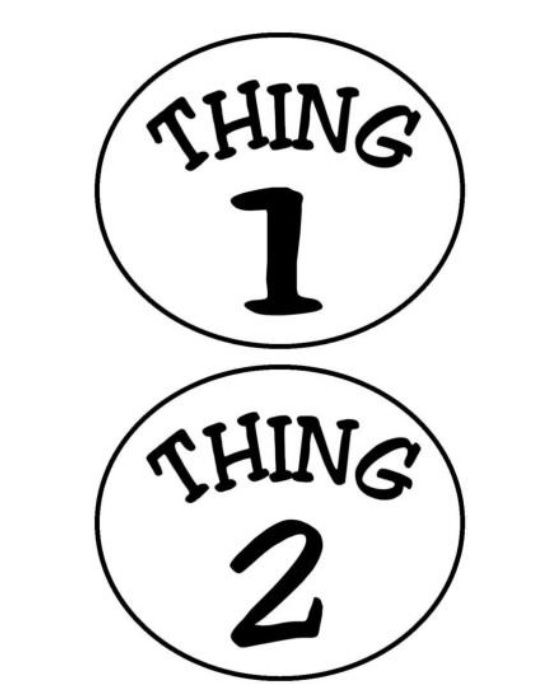 Thing 1 And Thing 2 Circles Iron On Transfer
