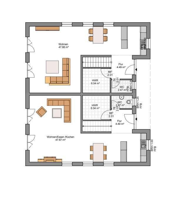 Kowalski Haus Doppelhaushälfte Leo Nardo 125 Grundriss EG