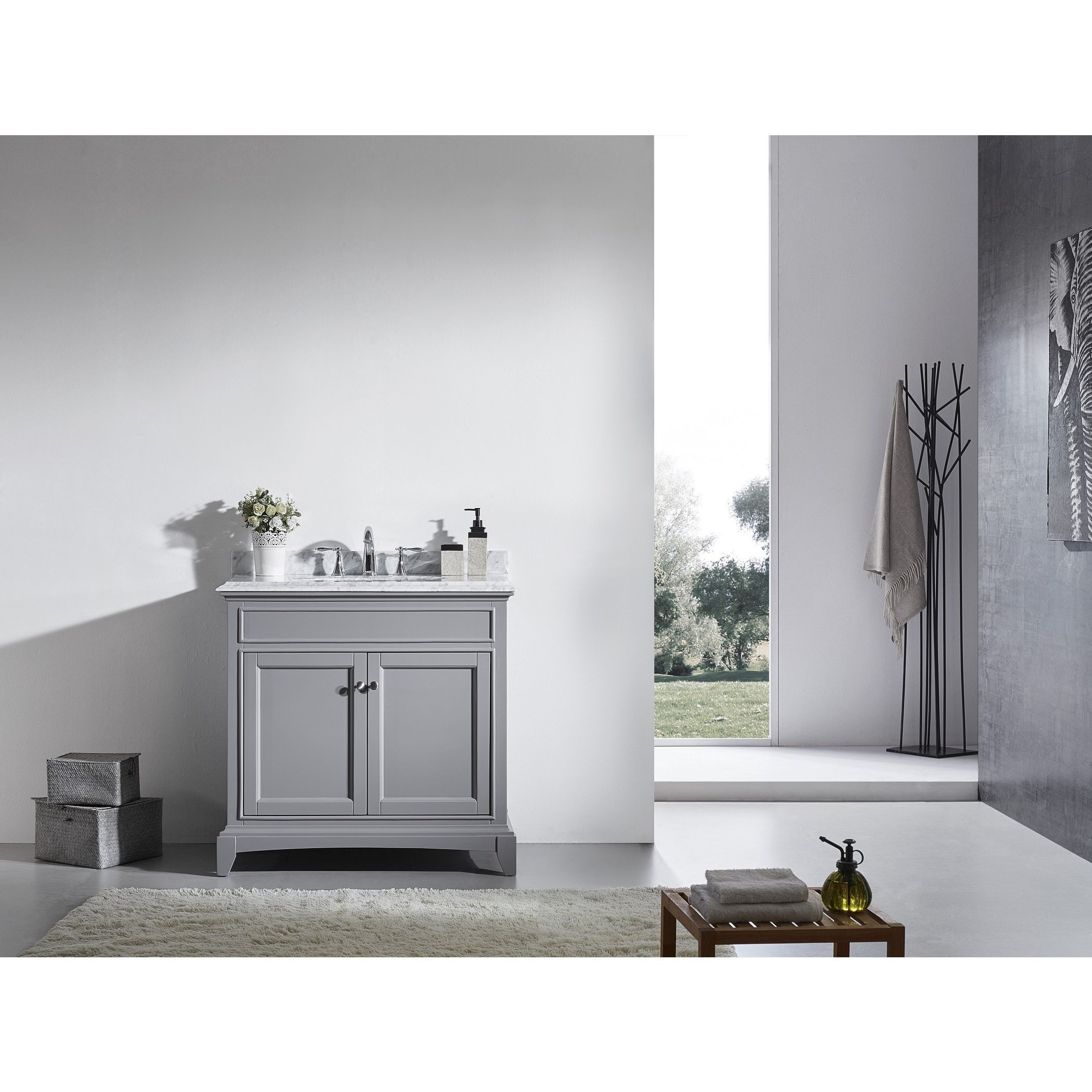 The Eviva Elite Stamford® 36-inch Gray Bathroom Vanity features a Double OG White Italian Carrera Marble counter-top that accents the bathroom cabinet with a very luxurious look.