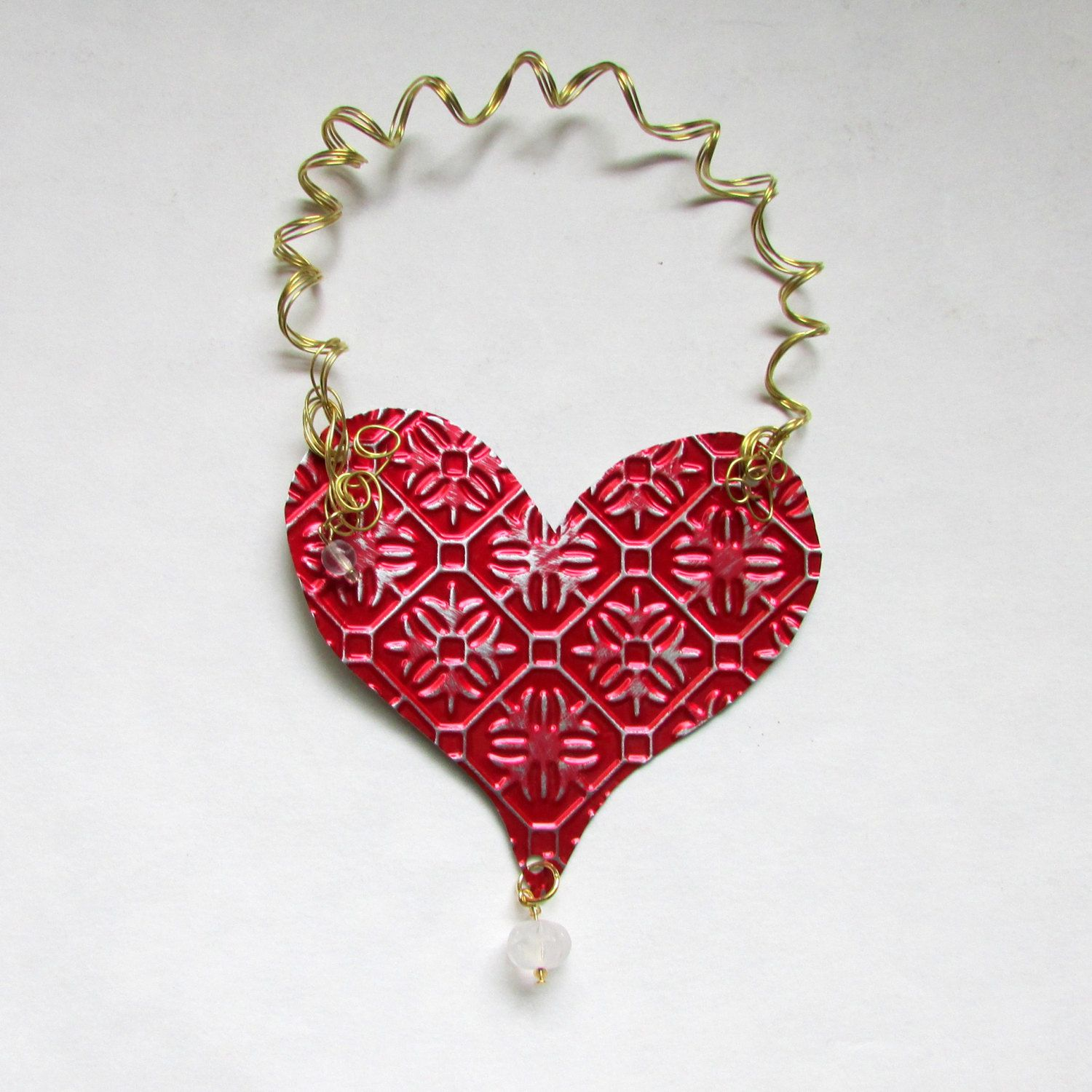 Red heart ornament metal heart ornament heart wall decor red heart ornament metal heart ornament heart wall decor valentine heart recycled amipublicfo Images