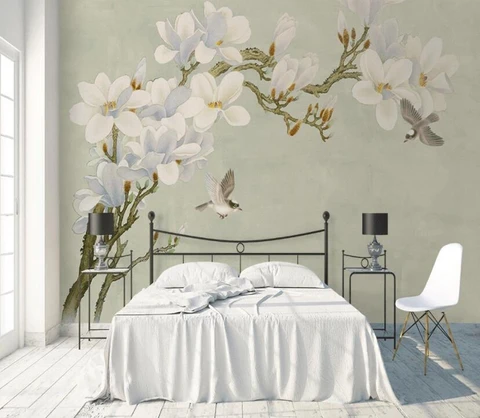 (1) 3D Retro Chinese Style Floral Birds Wall Mural