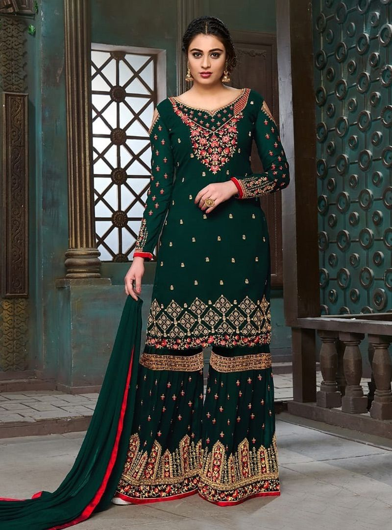 fd19aaea75 Buy Green Georgette Sharara Style Salwar Suit 131662 online at lowest price  from vast collection at m.indianclothstore.c.