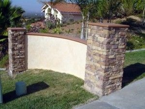 Hardscape Stone And Stucco Wall Landscape And Design Stucco Walls Front Courtyard Dream Backyard