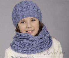 Шапка спицами для девочки и шарф » Сайт