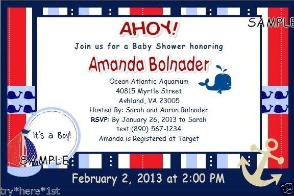 15 Baby Shower Invitations - Personalized - Nautical, Red, White & Blue #WedoFavors #BabyShowerbirthdaySprinkleSavetheDate