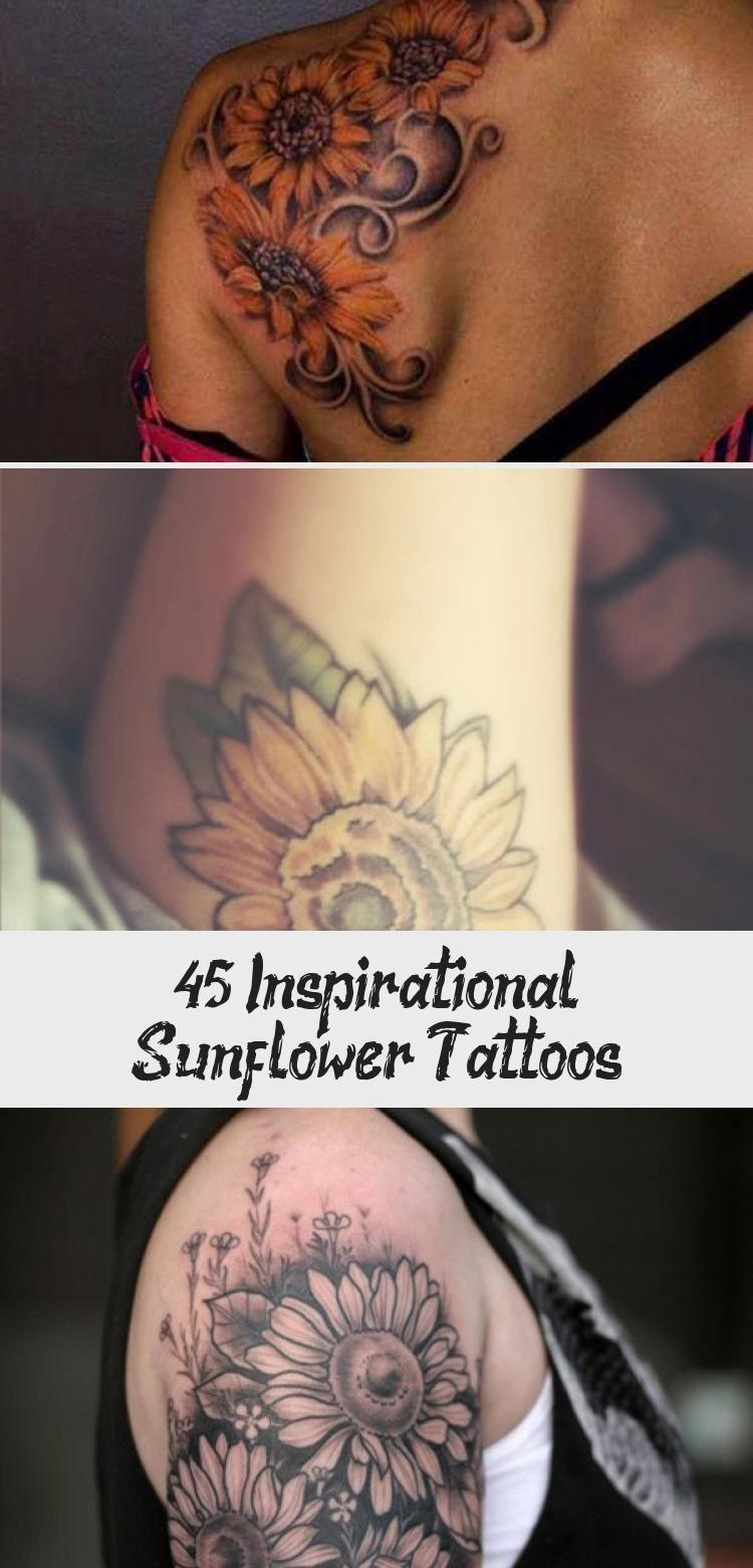 Photo of sunflower tattoo – 45 Inspirational Sunflower Tattoos #Watercolorsunflowertattoo…