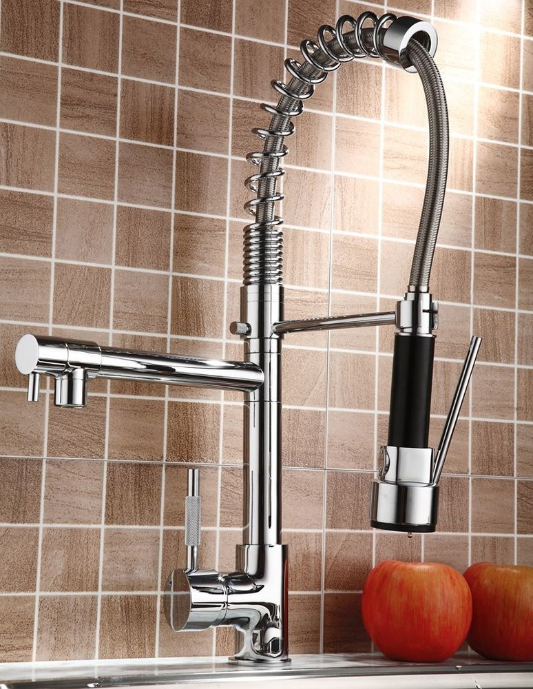 Kitchen Swivel Spout Single Handle Sink Faucet Pull Down Spray
