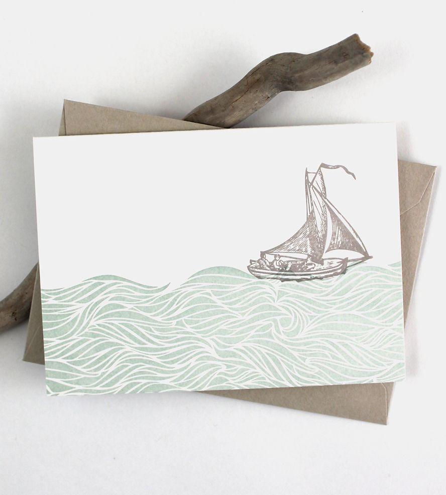 Sailboat letterpress note card set note cards and letterpresses sailboat letterpress note card set kristyandbryce Choice Image