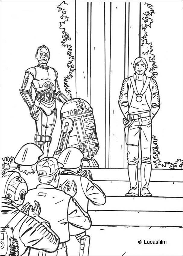 Dibujo para colorear : Victoria : Luke, R2-D2 y C-3PO   infantil ...
