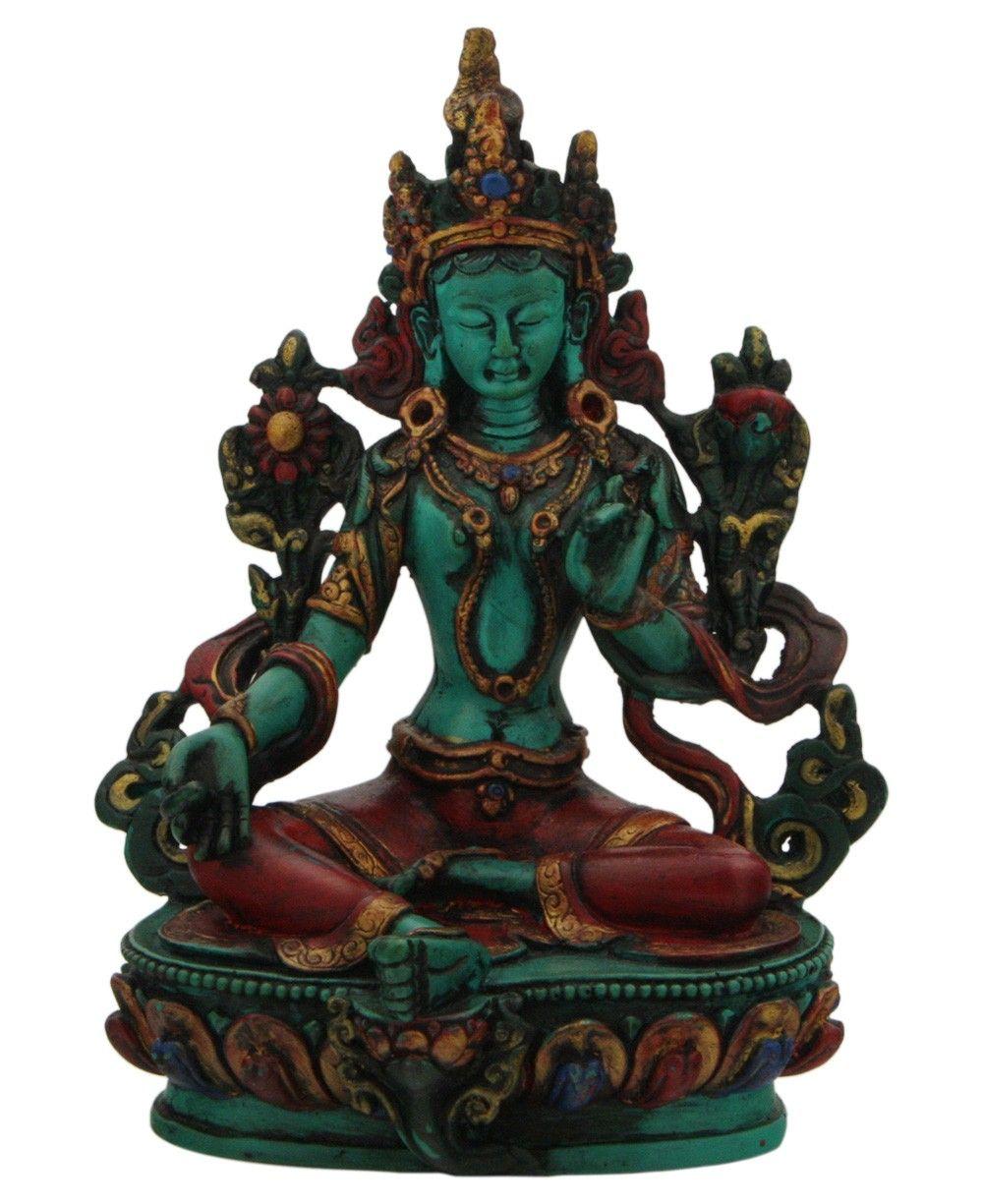 Green tara statue symbolic of life energy and resourcefulness made green tara statue symbolic of life energy and resourcefulness made of resin with hand painted biocorpaavc Choice Image