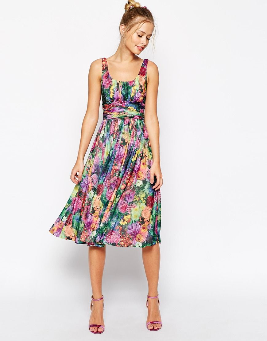 Asos wedding guest dress midi  Image  of ASOS Digital Bloom Print Soft Midi Dress  Things to Wear