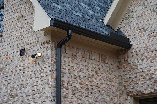 Black gutters black gutters pinterest house front for Painting aluminum gutters
