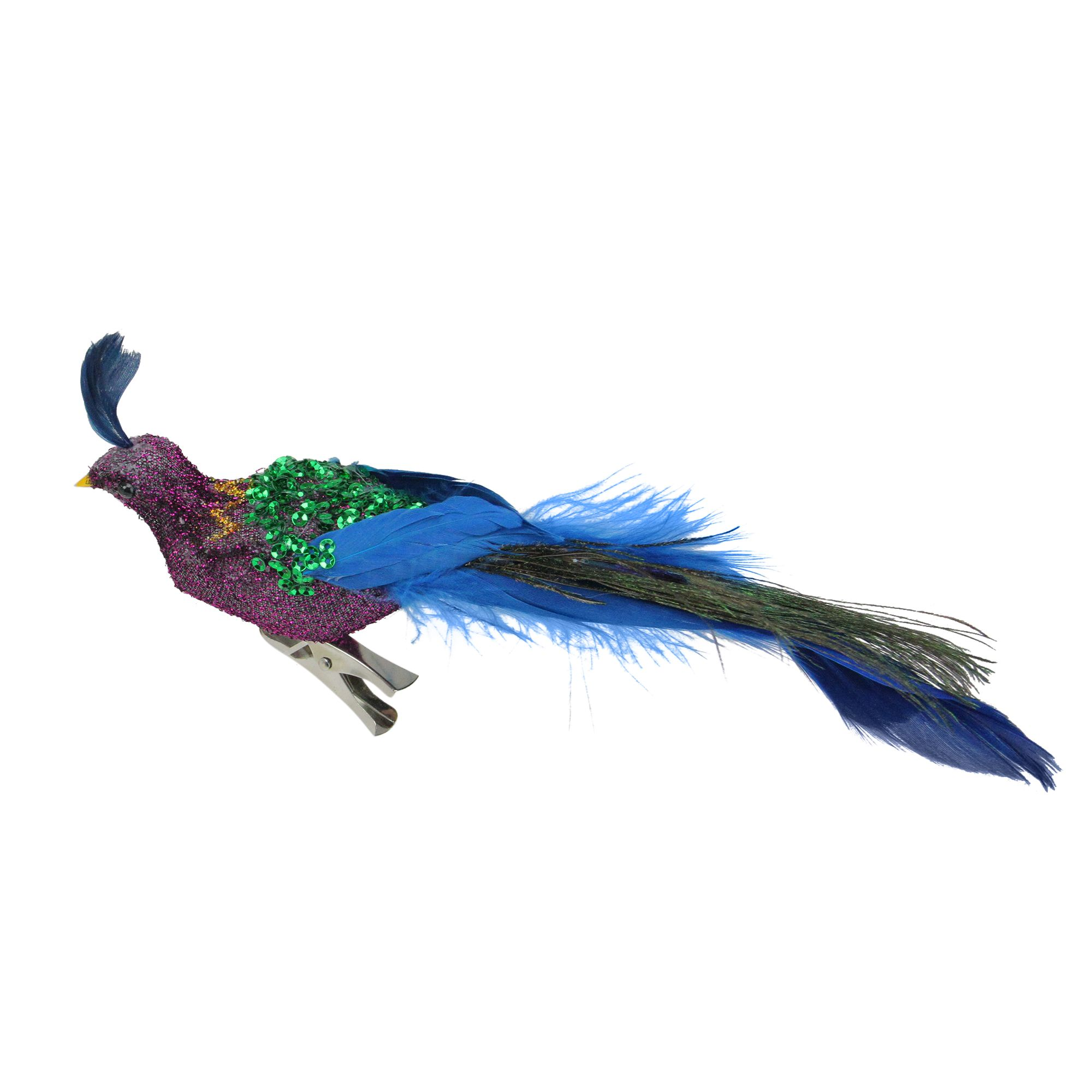 """8"""" Purple and Blue Sequins Peacock Bird Clip-On Christmas ..."""