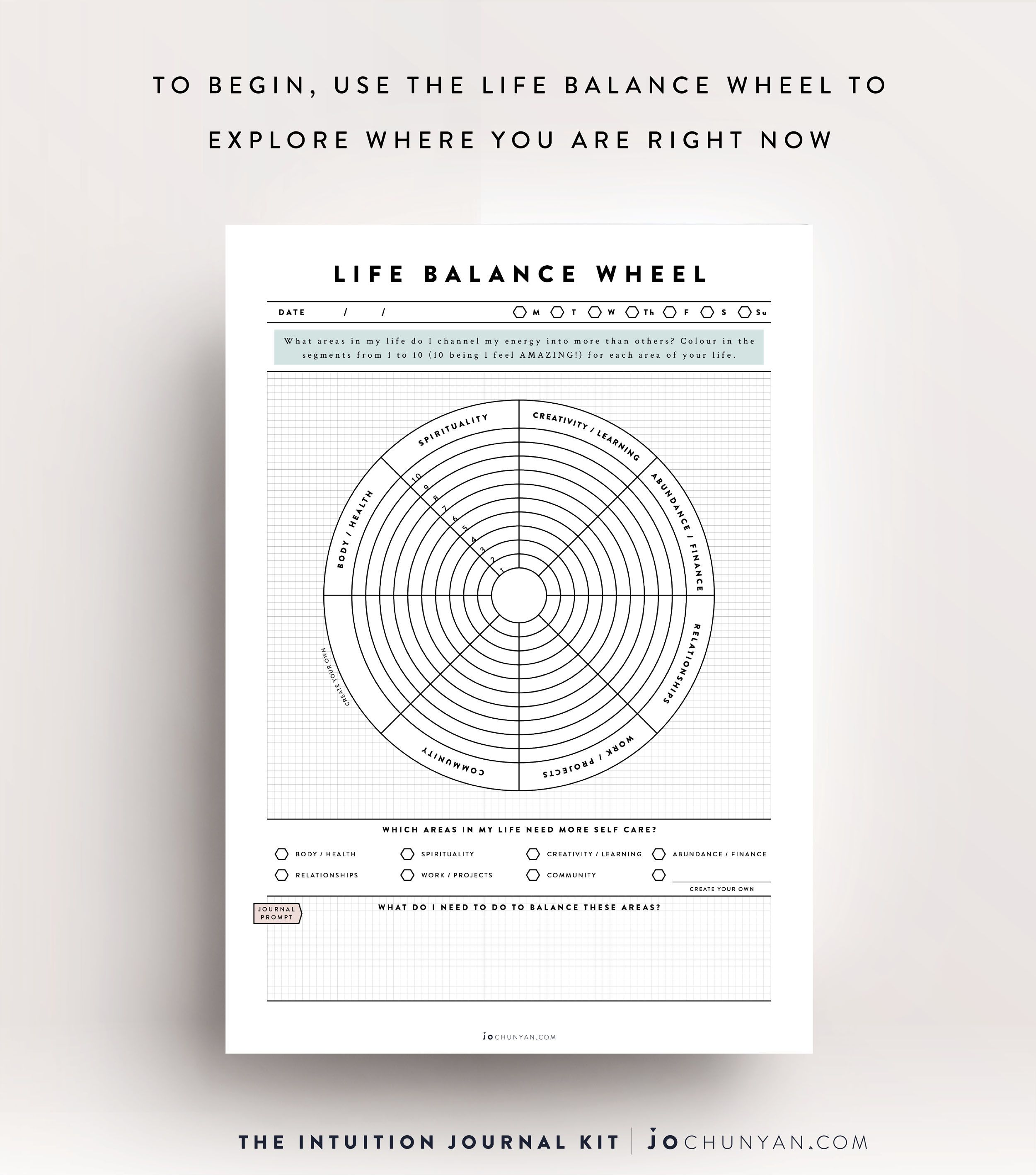 Intuition Journal Kit The Life Balance Wheel Is Designed