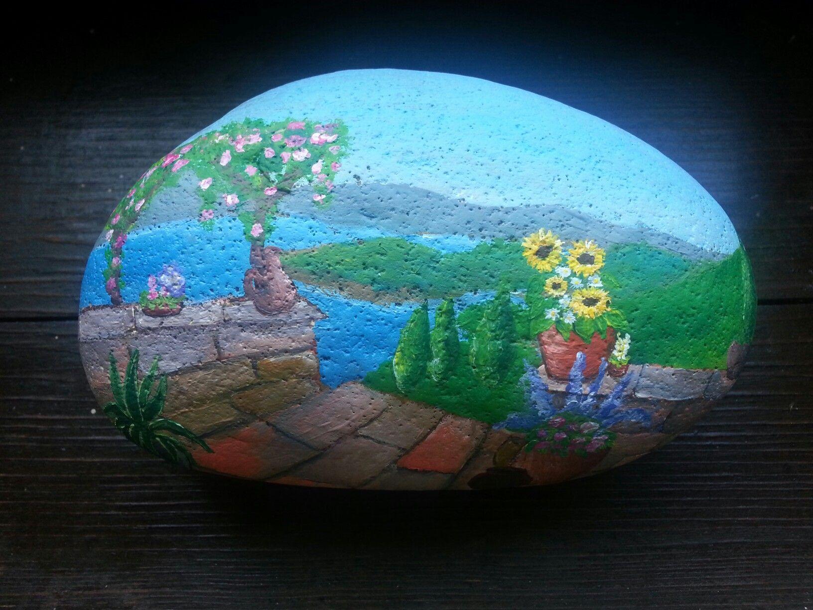 Painted rock. Mediterran Landscape. Sunflower, flowers perfect view