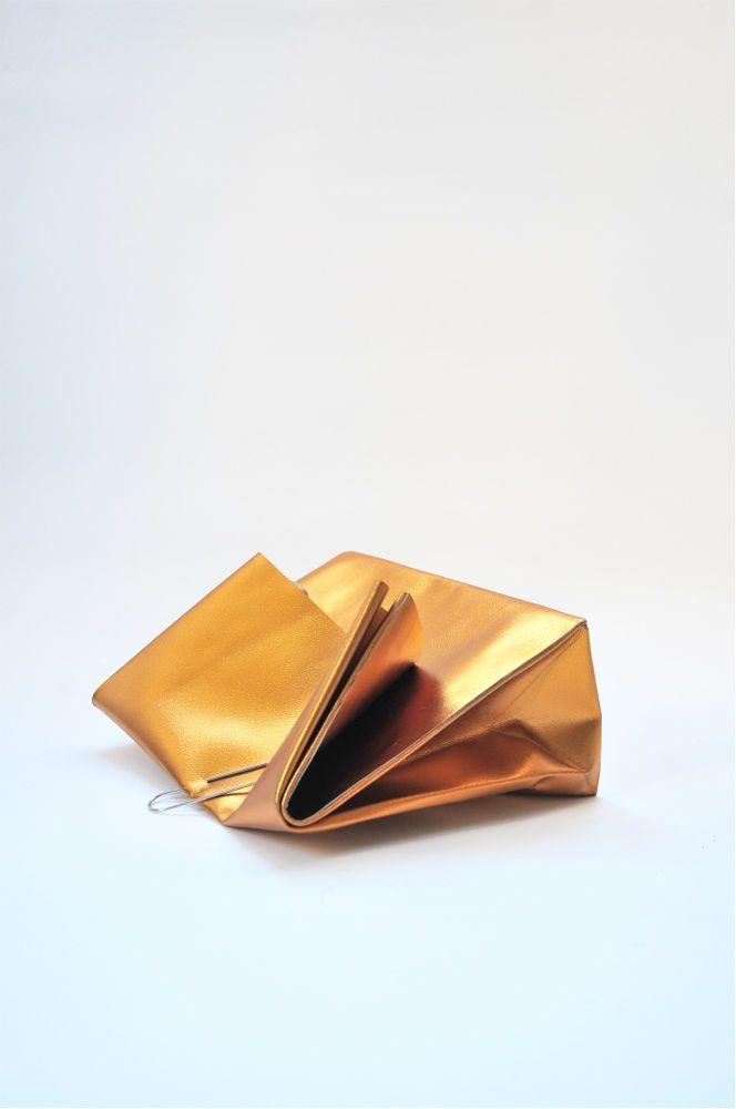 PULP STORE — Dark golden leather paper bag