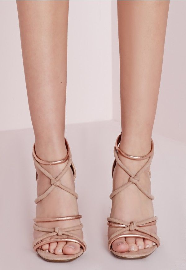 be a total dream in these seductive rope lace up heels! in a super soft faux suede, lush nude and rose gold knot rope detailing and zip back fasten these are a must have for the perfect night out. team up with a white bodycon dress and laye...