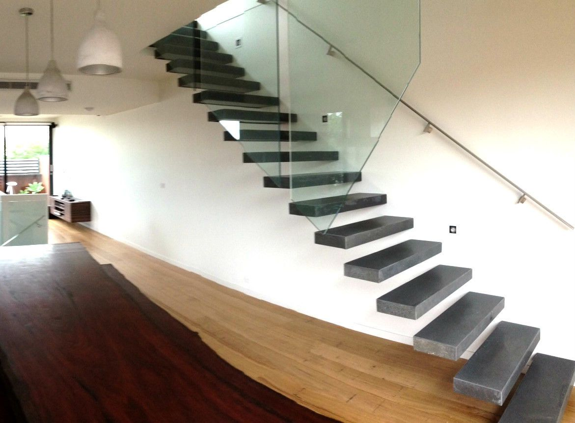 Design Floating Steps custom made natural bluestone stair treads for floating steps internal stairs