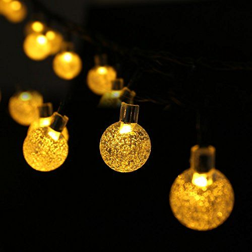 Luckled solar powered globe outdoor string lights 20ft 30 led fairy luckled solar powered globe outdoor string lights 20ft 30 led fairy crystal ball christmas lights mozeypictures Images