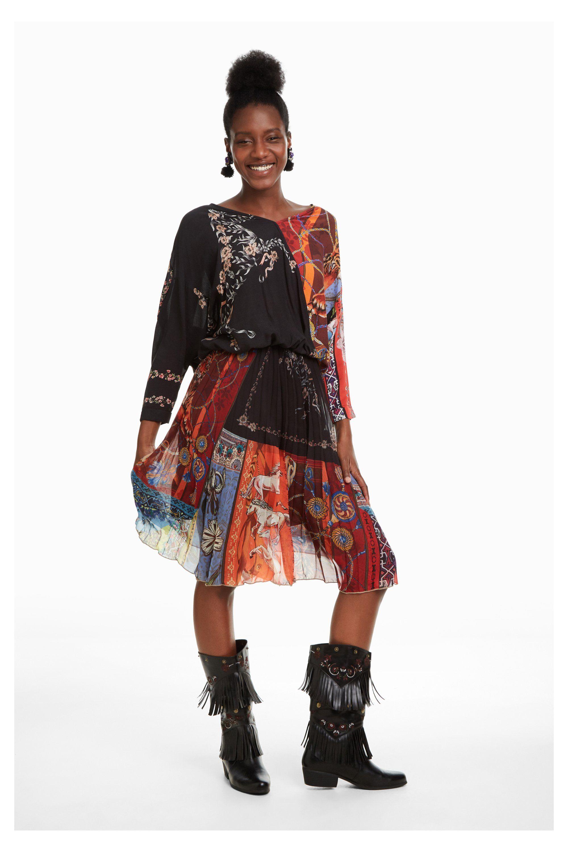 ca85467b2530 Outfit fluido estampado Desigual Otoño Invierno 2019 #moda2019 #ropademujer  #moda #fashion #