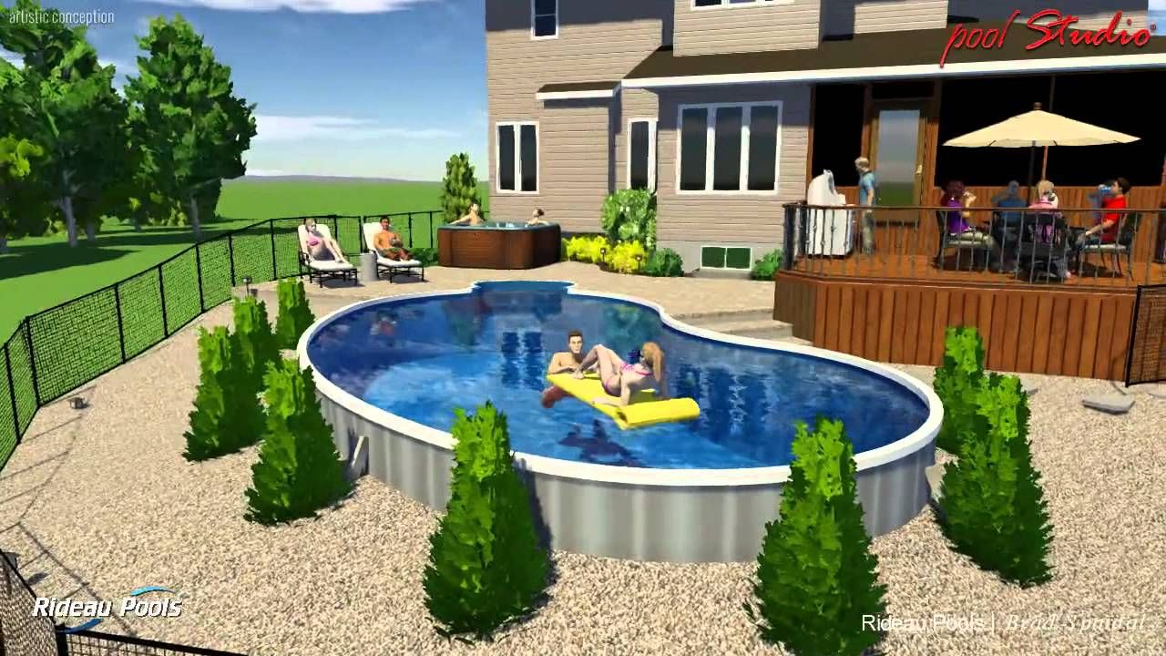 16 X 32 Kidney Semi Inground Design By Rideau Pools Ottawa Kidney Shaped Pool Semi Inground Pools Backyard Pool Landscaping